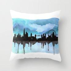 Turquoise London Skyline 2 Throw Pillow