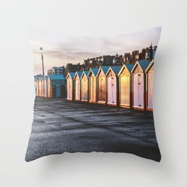 Colored beach huts at Brighton, East Sussex, Englan Throw Pillow