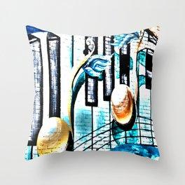 Deep Ellum Music Note Mural - Surreal Throw Pillow