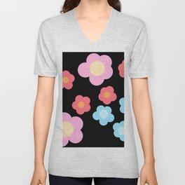 Simple Red Pink Blue Flowers on Black Unisex V-Neck