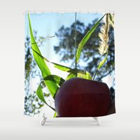 apple Shower Curtains featuring Apple by Valeria24