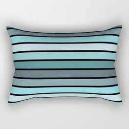 Multicolored Stripes: Shades of Blue Rectangular Pillow