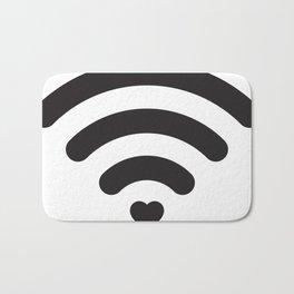 Love & WiFi - Black & White Bath Mat