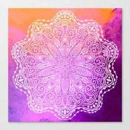 mandala on pink texture Canvas Print
