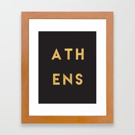 ATHENS GREECE GOLD CITY TYPOGRAPHY Framed Art Print