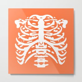Human Rib Cage Pattern Orange 2 Metal Print