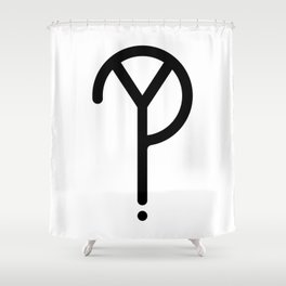 Black Y? Symbol Shower Curtain