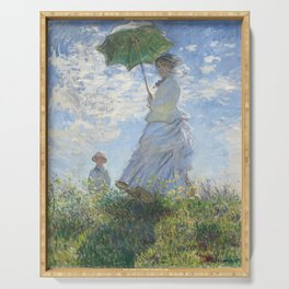 Vintage Woman with a Parasol, Madame Monet and Her Son (1875) by Claude Monet. Serving Tray