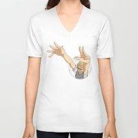 haikyuu V-neck T-shirts featuring Tsukishima Kei - Haikyuu!! - block by anywayimnikki