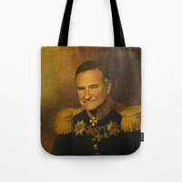 robin williams Tote Bags featuring Robin Williams - replaceface by replaceface