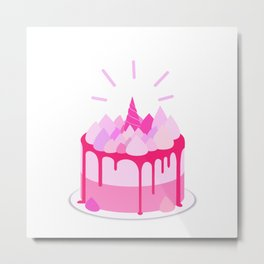 Berry cake with meringues and a horn Metal Print