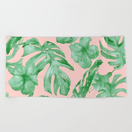 Island Life Coral Pink + Green Beach Towel