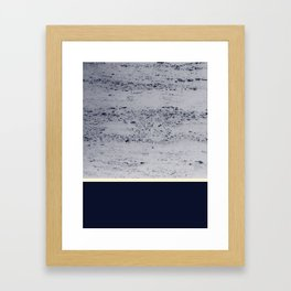 Navy Blue Pale Yellow on Navy Blue Concrete #1 #decor #art #society6 Framed Art Print