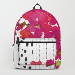 Vibrant Pink Geranium on Black and White Geometric Ground Backpack