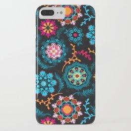 Suzani Inspired Pattern on Black iPhone Case
