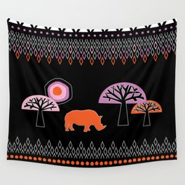 African Rhino Wall Tapestry