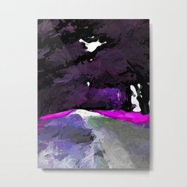 Purple Alley of Trees lined with Pink Grass Metal Print