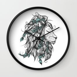 Poetic Lion Turquoise Wall Clock