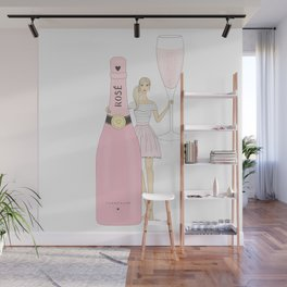 Rose Champagne Fashion Girl Blonde Wall Mural