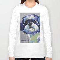 shih tzu Long Sleeve T-shirts featuring Shih Tzu Pop Art Pet Portrait by Karren Garces Pet Art