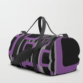 Violet Black Pattern Rectangles #society6  Duffle Bag