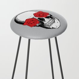 Skull and Roses | Grey and Red Counter Stool