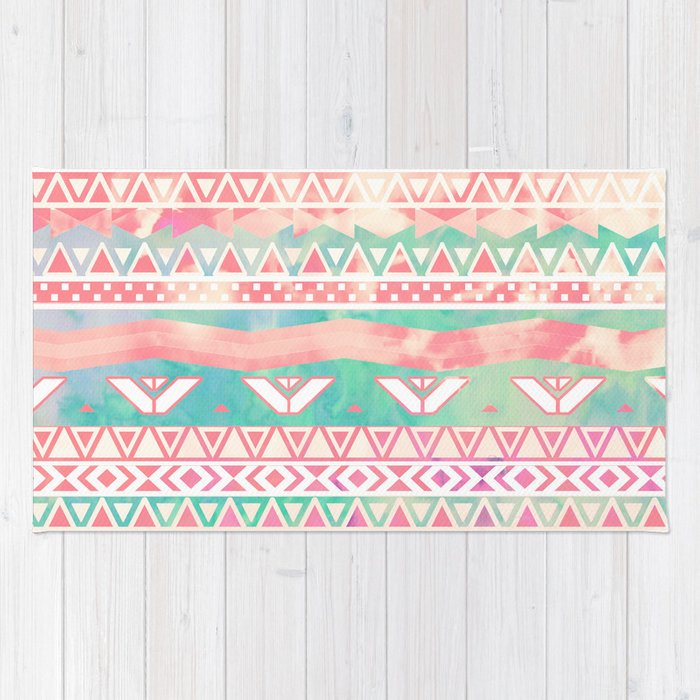 Watercolor Turquoise Pink Girly Abstract Aztec Rug By