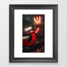 Red Wet Bike Framed Art Print