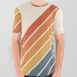 Arida -  70s Summer Style Retro Stripes All Over Graphic Tee