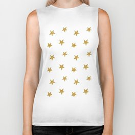 Merry christmas-Stars shining brightly-Gold glitter pattern Biker Tank