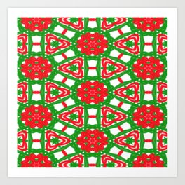 Red, Green and White Kaleidoscope 3372 Art Print