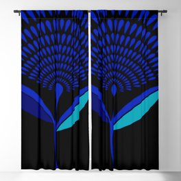 Mid Century Modern Dandelion Seed Head In Princess Blue Blackout Curtain