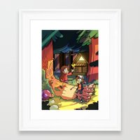 gravity falls Framed Art Prints featuring Gravity Falls by Izzy