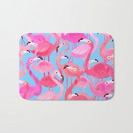 Flamingo pattern blue Bath Mat