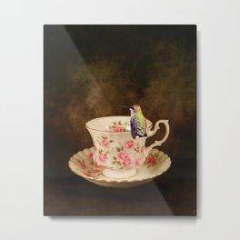 Tea Time With A Hummingbird 1 Metal Print
