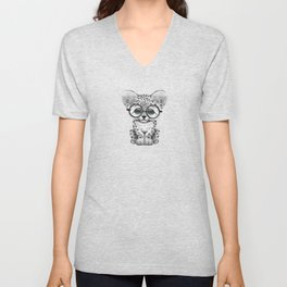 Cute Snow Leopard Cub Wearing Glasses on Deep Red Unisex V-Neck