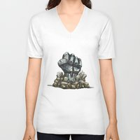 minerals V-neck T-shirts featuring Minerals and rocks by YISHAII
