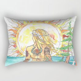 The Sun Tarot Card Bohemian Ocean Goddess Risa Painting Rectangular Pillow