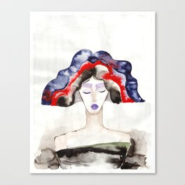 Margot With a Purple Lipstick Canvas Print