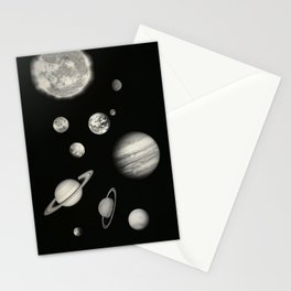Black and White Solar System Stationery Cards