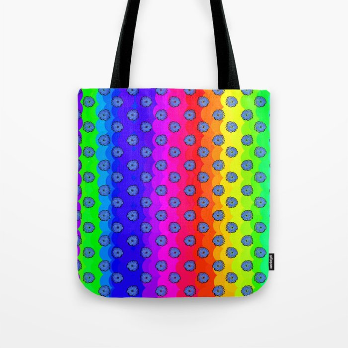 Rainbow and blue flowers Tote Bag