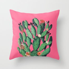Pink Flower-Cacto Throw Pillow