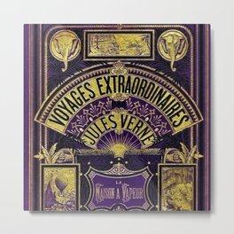 Jules Verne Voyages Extraordinaire Purple Lithographic Print by Jeanpaul Ferro Metal Print