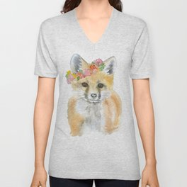 Fox Floral Watercolor Painting Unisex V-Neck