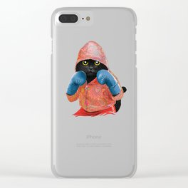 Boxing Cat 2  Clear iPhone Case