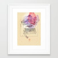 typewriter Framed Art Prints featuring typewriter by Sabine Israel