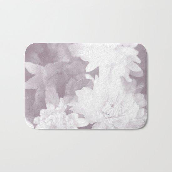 Elegant beauty - white flowers on purple background Bath Mat