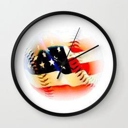 Baseball And Americn Flag Painting By Annie Zeno  Wall Clock