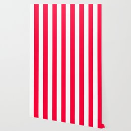 Carmine red - solid color - white vertical lines pattern Wallpaper