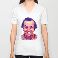 jack nicholson V-neck T-shirts featuring Young Jack Nicholson and the evil smile - digital painting by Thubakabra
